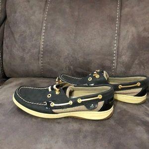 Women's Navy Angelfish Sperry Top Slide Boat shoes